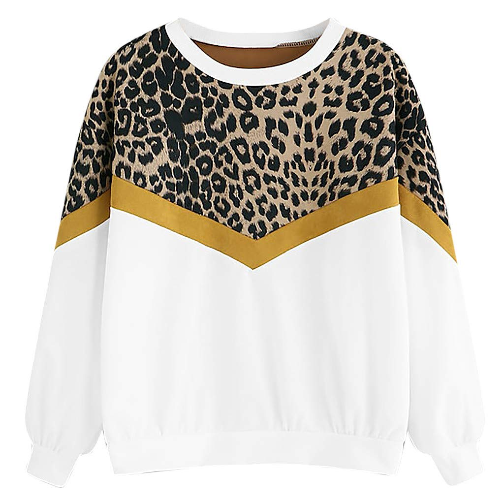 Fashion Womens Casual Long Sleeve Patchwork Leopard Print O-Neck Tops Sweatshirt (L, White) by DRAGONHOO