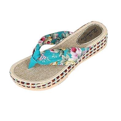 Ouneed® Damen Sandalen ,Damen Sommer Plattform Wedges Keil Plattform Zapfen Flip flops Strand beiläufige Hefterzufuhr Schuhe (40, Blau)
