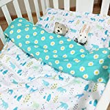 100% Organic Cotton Soft and Healthy Baby Crib Bed Cover Set 3 Pieces- Blue
