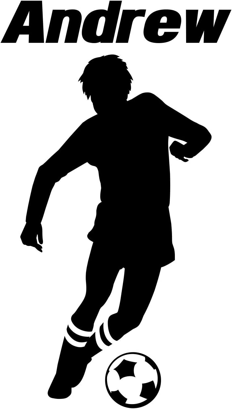 Soccer Player Boy Decal Custom Name Wall Room Personalized Vinyl Sticker D (Super-Jumbo: 36