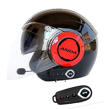 Medio De La Cara Abierta Casco De La Motocicleta Bluetooth + ...