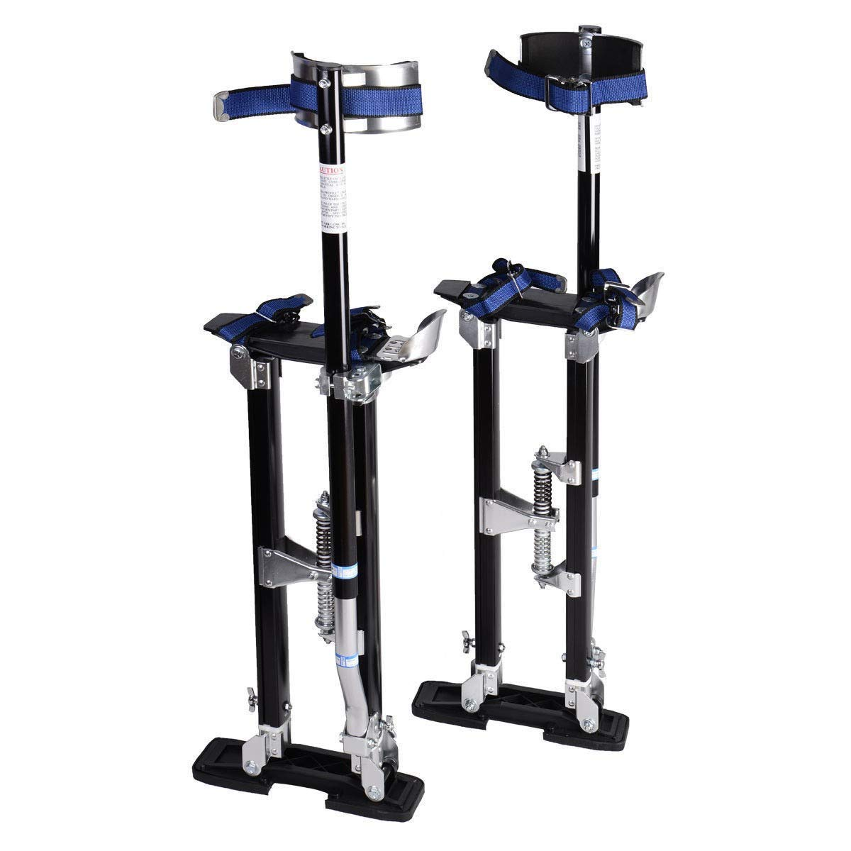 Brand New and Black 18''-30'' Drywall Aluminum Stilts, A Non-Rocking Frame with Overlapping, Industrial Strut Tubes is Paired with An Adjustable, Dual-Spring Flex-System - LeZhel Shop