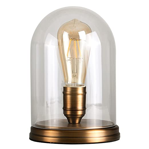 Retro Aged Brass Effect Metal Base And Clear Glass Dome Table Lamp