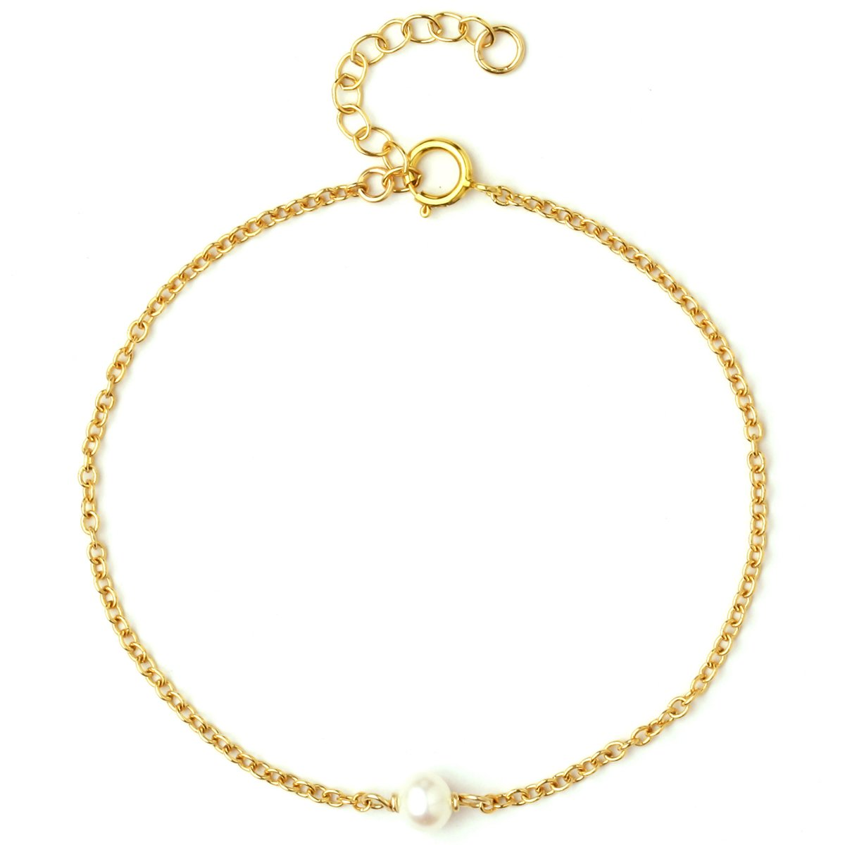 Dainty Bracelet For Women Girls, 14K Gold Filled Super Fine Chain, Simulated Freshwater Pearls, AAA CZ, Layering Essentials, Adjustable, Gifts for Her, Made in USA, 6.5''+1'' (Tiny Single Pearl)