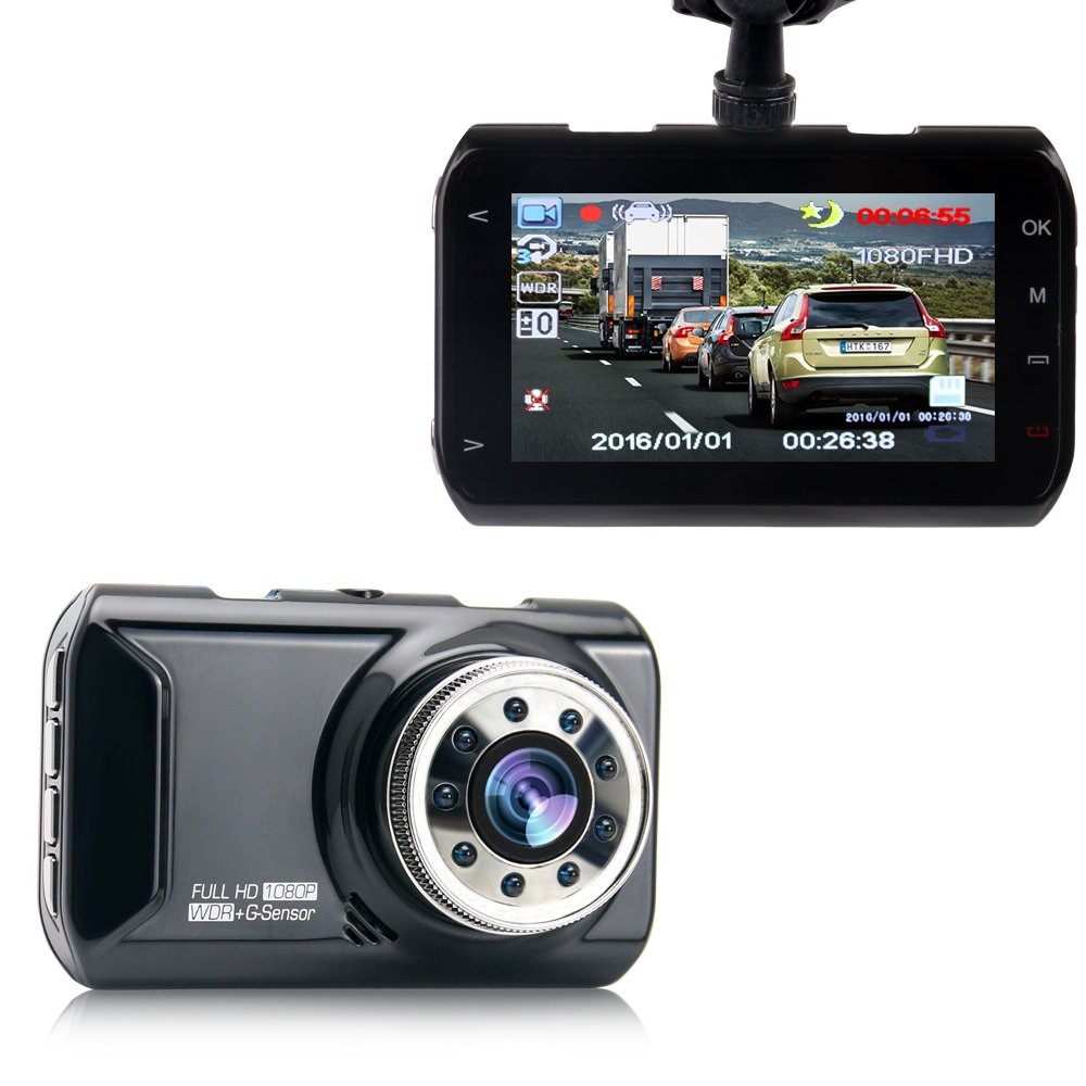 "Hisili 3"" LCD Dash Cam, Full HD 1080P, 160 Wide Angle Car Dashboard Camera, Vehicle Videos Recorder with Night Vision, G-Sensor, WDR, Loop Recording"