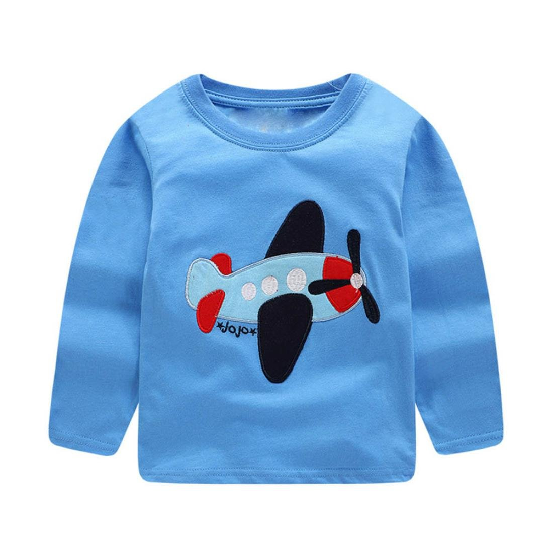 CHshe 1.5-6 Years Infant Boys T-Shirt, Cartoon Plane Print Pullover Sweatshirt Tops T-Shirts