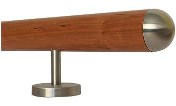 200 cm mit 3 Halter Halbkugel gefr/äst L/änge 30-500 cm aus einem St/ück//Beispiel Ahorn Holz Treppe Handlauf Gel/änder Griff gerade Edelstahlhalter