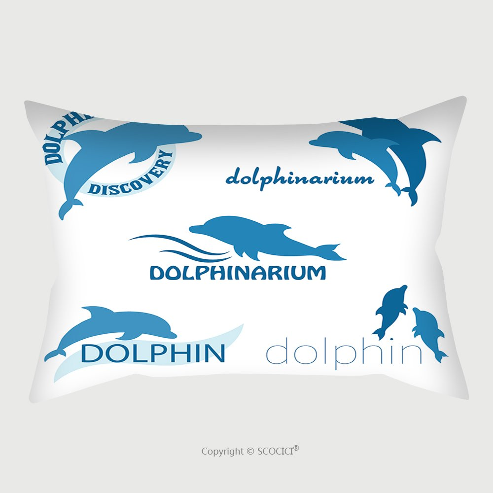 Custom Satin Pillowcase Protector Vector Set Of Dolphinarium Design Of Logo With Dolphins Illustration_502253944 Pillow Case Covers Decorative by chaoran