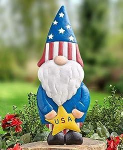 Ornament Statue Patriotic American Pride Standing Garden Yard Gnome Lawn #TSPTM
