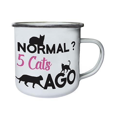 normal hace 5 gatos Retro, lata, taza del esmalte 10oz/280ml cc760e