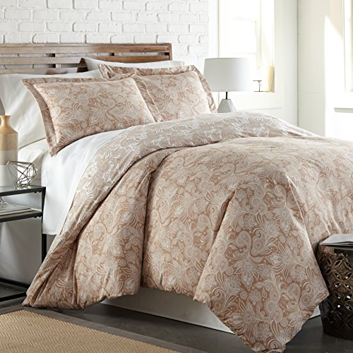 Southshore Fine Linens - Perfect Paisley Collection - Boho Style Comforter Sets, 3 Piece Set, King/California King, Taupe