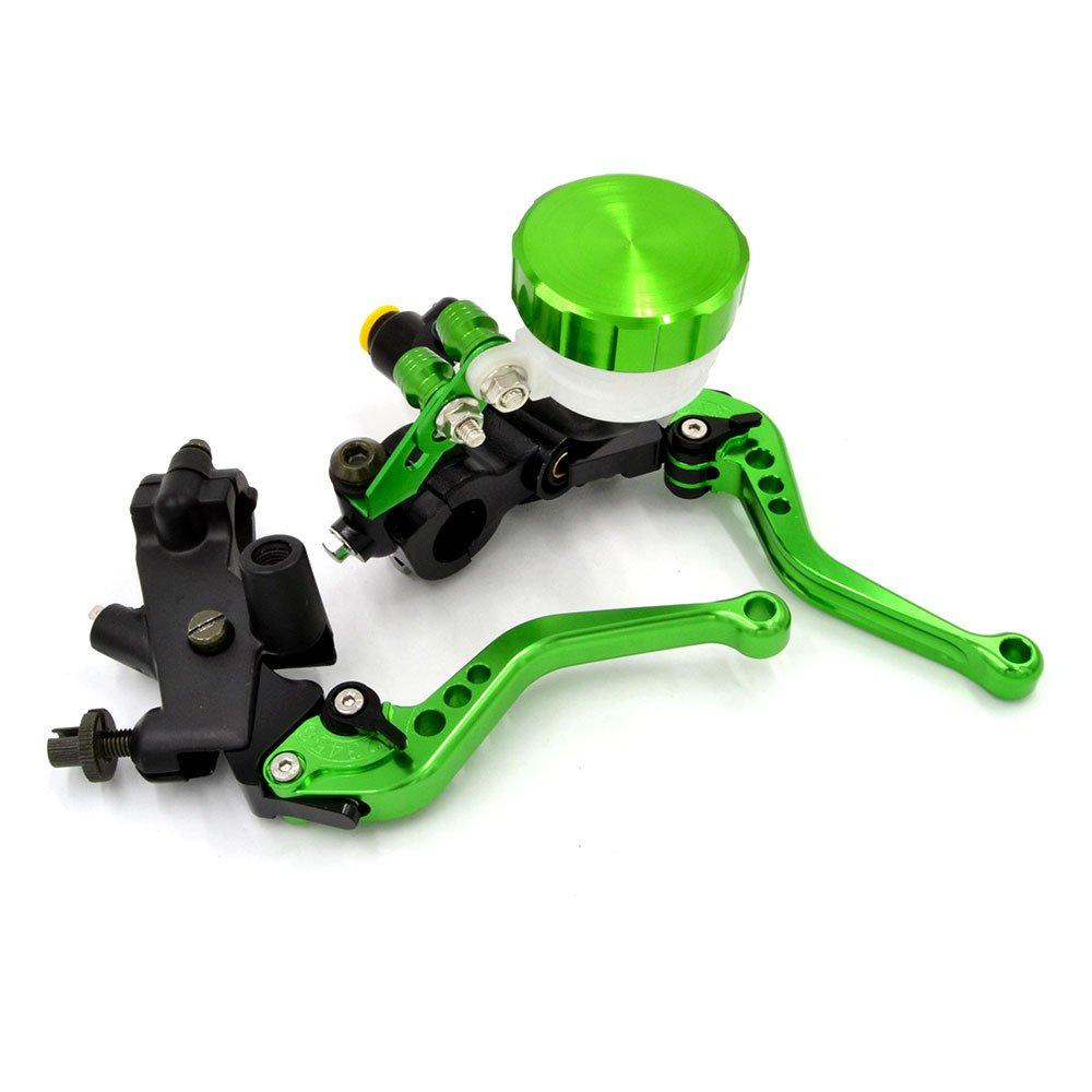 BJ Global - Juego universal de palancas con depósito para el líquido del embrague y cilindro maestro de freno, de aluminio CNC, para motocicletas Kawasaki, ...