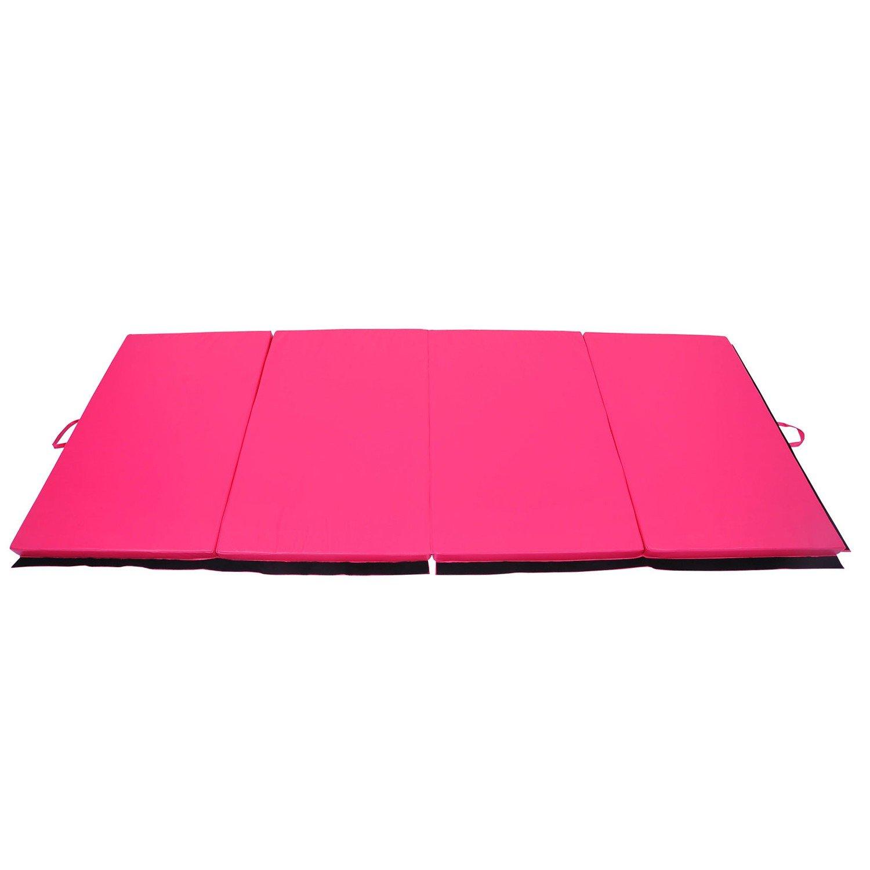 Folding Gym Mat 4' x 10' x 2'' Gymnastics Aerobics Exercise Yoga Tumbling Mat With Ebook