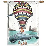 HUANGLING Hammerhead Whale Fish With Hot Air Baloon Marine Sea Coast Shore Home Flag Garden Flag Demonstrations Flag Family Party Flag Match Flag 27''x37''