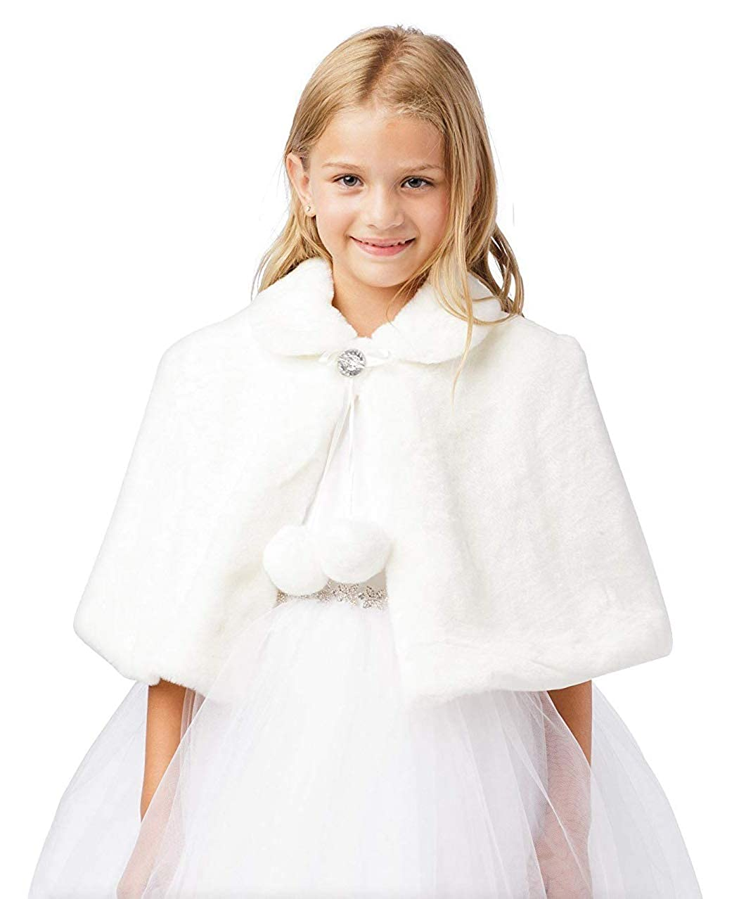 iGirldress Girls Plush Fur Cape with Collar Flower Girl Bolero Jacket Shrug Coat