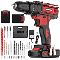 Cordless Drill Driver Kit with 2 Batteries, WAKYME 21V Impact Drill 350 In-lb Torque 25+3 Clutch, 3/8