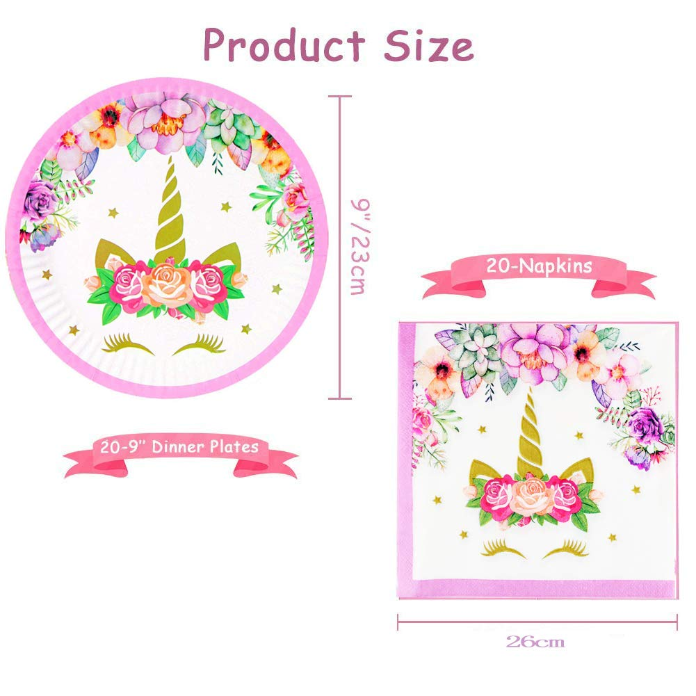 YANGTE Unicorn Plates and Napkins Unicorn Party Supplies Set Perfect for Childrens Unicorn Birthday Party Wedding Party Baby Shower-Set 20