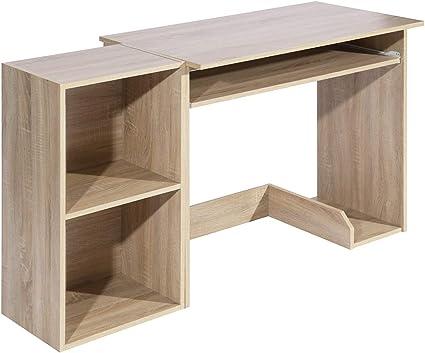 meuble cosy bureau d ordinateur avec etagere de rangement table de bureau a domicile station de travail en bois bois 90x48x75 40x29x75cm
