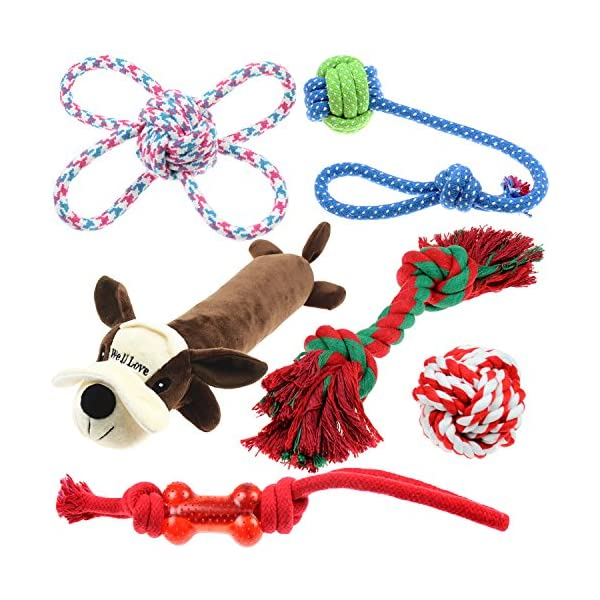 Well Love Dog Toys – Chew Toys – 100 Natural Cotton Rope – Squeak Toys – Dog Balls – Dog Bones – Plush Dog Toy – Dog Ropes – Tug of War Ball – Toys for Dog 6pack Set