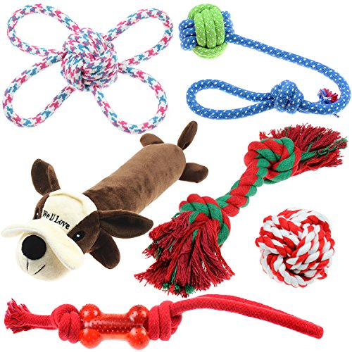 Well Love Dog Toys - Chew Toys - 100 Natural Cotton Rope - Squeak Toys - Dog Balls - Dog Bones - Plush Dog Toy - Dog Ropes - Tug of War Ball - Toys for Dog 6pack Set
