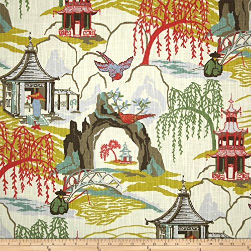 Robert Allen @ Home Neo Toile Coral Fabric - Robert Allen Drapery Fabric