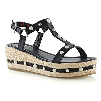 65b9586533 ESSEX GLAM Womens Platform Sandals Ladies Black Synthetic Leather Studded  Wedge Heel Espadrilles 5 B(