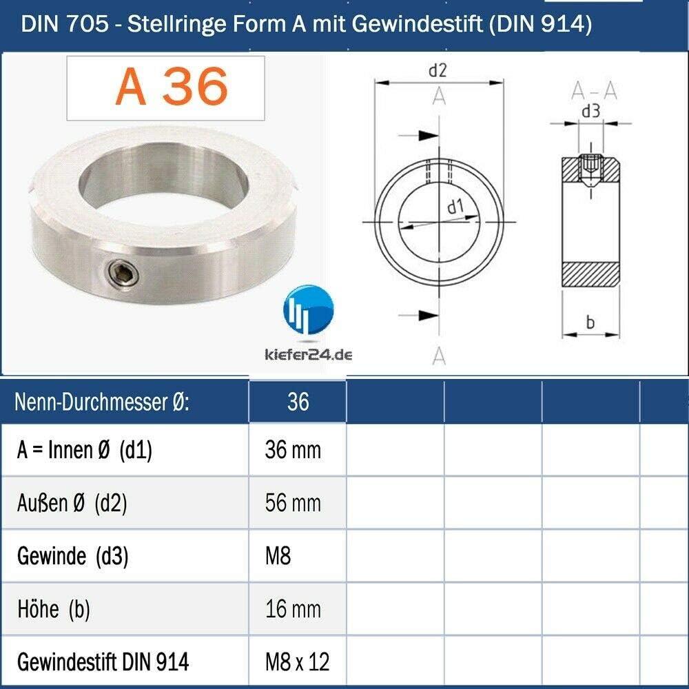V2A Stellring Edelstahl Innen-/Ø = 5 mm Stellringe DIN 705 A2 mit Gewindestift DIN 914 - 5 St/ück A5 Kiefer24