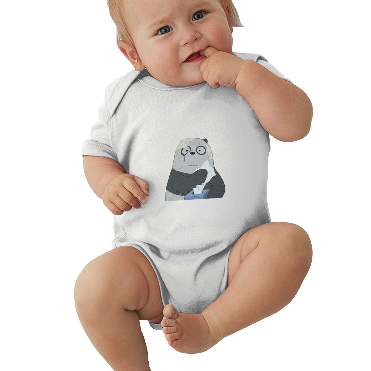 KunYuHeng Unisex Baby Round Neck Short-Sleeve Romper We Bare Bears Funny Jumpsuits Sleepwear Black
