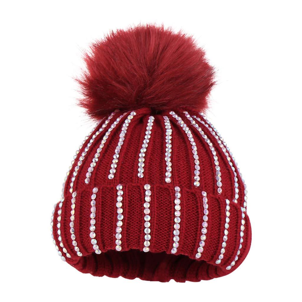 Toddler Boy Girl Knit Wool Cap Keep Warm Hairball Crystal Diamond Hat for 0-5T Baby Kids Autumn Winter Beanie Hat