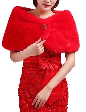 Insun Chal para mujer chaquetas de las mujeres abrigo chal para Noche y weddimg vestido Rojo: Amazon.es: Ropa y accesorios