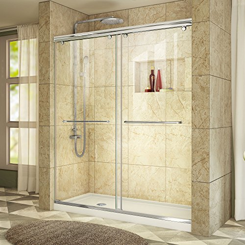 Fiberglass Shower Walls (DreamLine Charisma 36 in. D x 60 in. W Frameless Bypass Shower Door in Chrome with Left Drain White Acrylic Base Kit, DL-6943L-01CL)