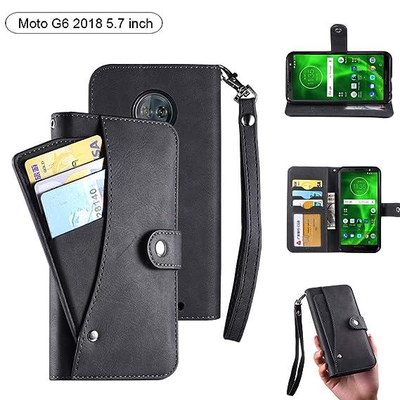 quality design dc7e5 5b84c Moto G6 Wallet Case, Moto G6 Case, PU Flip Leather 6 Cards Slot [Removable  Card Holder ] / Cash Pocket Cover with Wrist Strap Case for Moto G6 ...