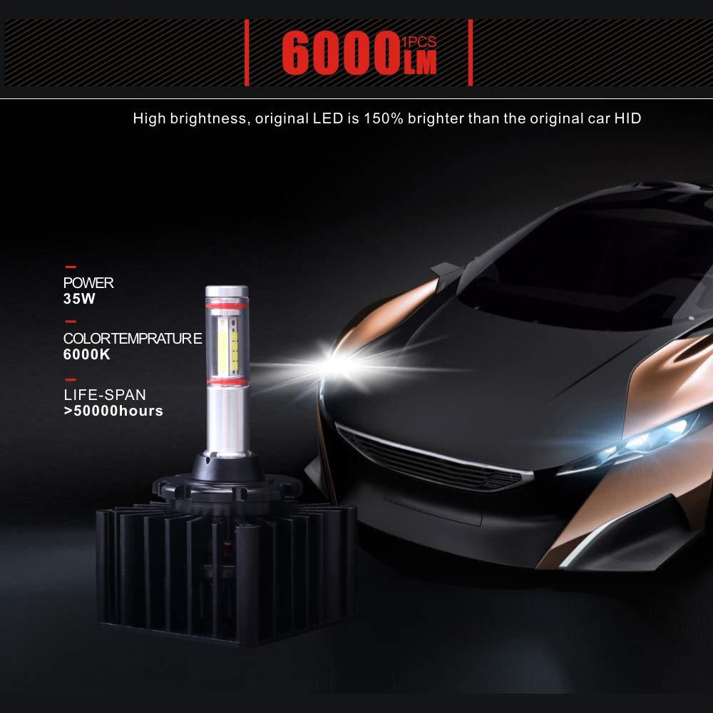 2 Pezzi Sostituire HID Xenon Kit di Conversione 12V 35W Lampadina D5S 6000K LED 12000LM Lampadine Fari per Abbaglianti o Anabbaglianti