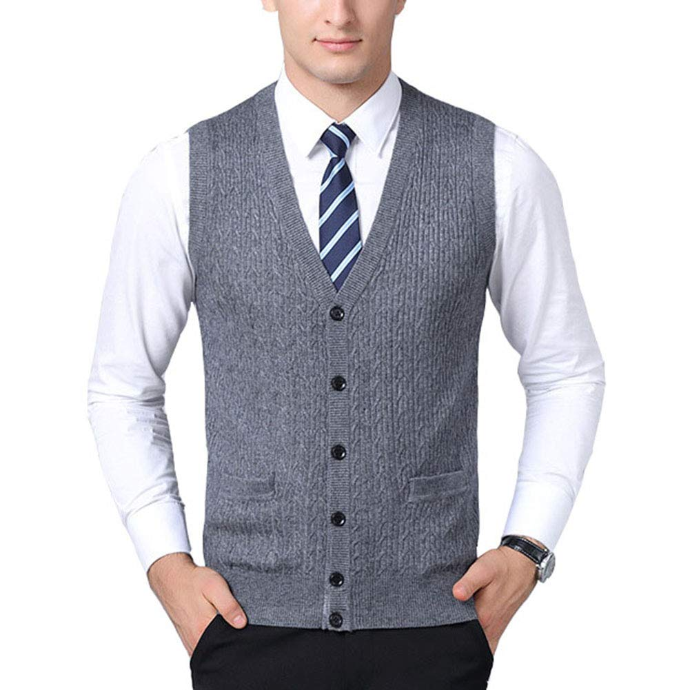 Mixsense Mens Comfort Wool V-Neck Sleeveless Jacquard Cardigan Sweater Vest