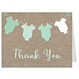 Baby Shower, Thank You Cards, Gender Neutral, Burlap, Mint, Onesie, Baby Shower Thank You Cards, Sprinkle, 50 Pack Folding Thank You Cards with White Envelopes