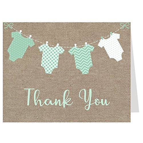 Baby Shower, Thank You Cards, Gender Neutral, Burlap, Mint, Onesie, Baby Shower Thank You Cards, Sprinkle, 50 Pack Folding Thank You Cards with White Envelopes ()
