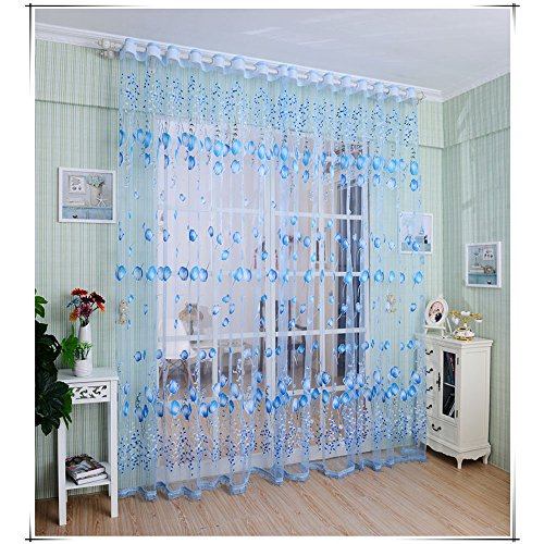Pretty Sun-shading Curtain Window Curtains Sheer Voile Tulle for Bedroom Living Room Balcony Kitchen Printed Tulip Pattern Blue Tulip ()