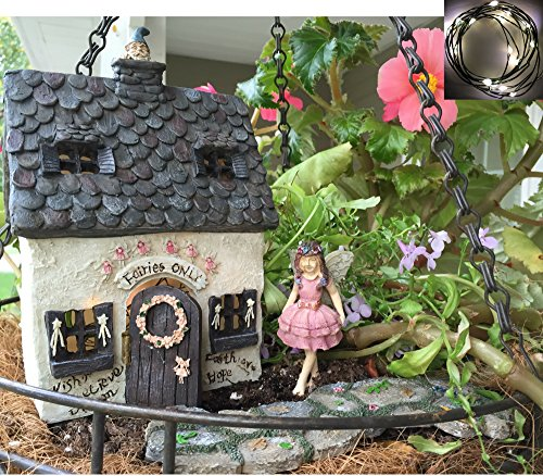 Enchanted Fairy Garden Kit (Fairy Garden Kit with Fairy Lights: House with door that opens, Enchanted Walkway and Standing Fairy Deluxe Set use indoor or outdoor)