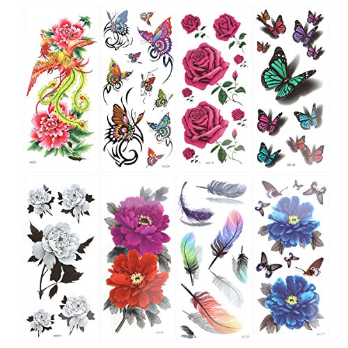ROSENICE Temporary Tattoo 8 Sheets Butterfly Tattoo Supplies Long Lasting for Women