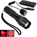 Red Light LED Flashlight Rechargeable Torch Zoomable Red LED Torch for Night Observations / Astronomy / Night Land Navigation (RED BEAM TORCH)
