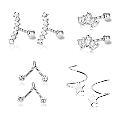 Amazoncom 1 4 Pairs Stainless Steel Silver Ear Cartilage Earrings