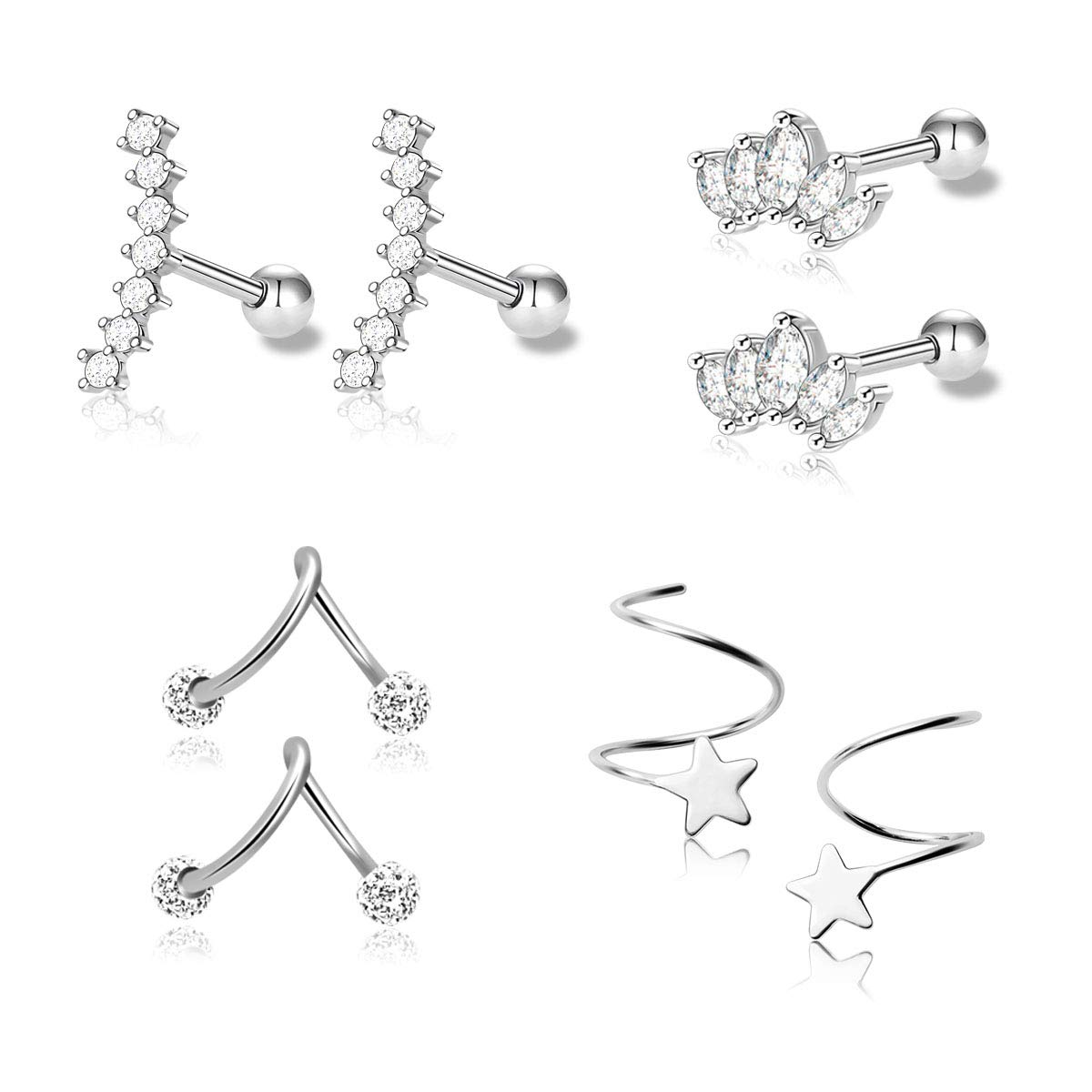 1-4 Pairs Stainless Steel Silver Ear Cartilage Earrings for Women Girls Tragus Helix Earring Cute Conch Flat Back Piercing Jewelry 16G (Style A)