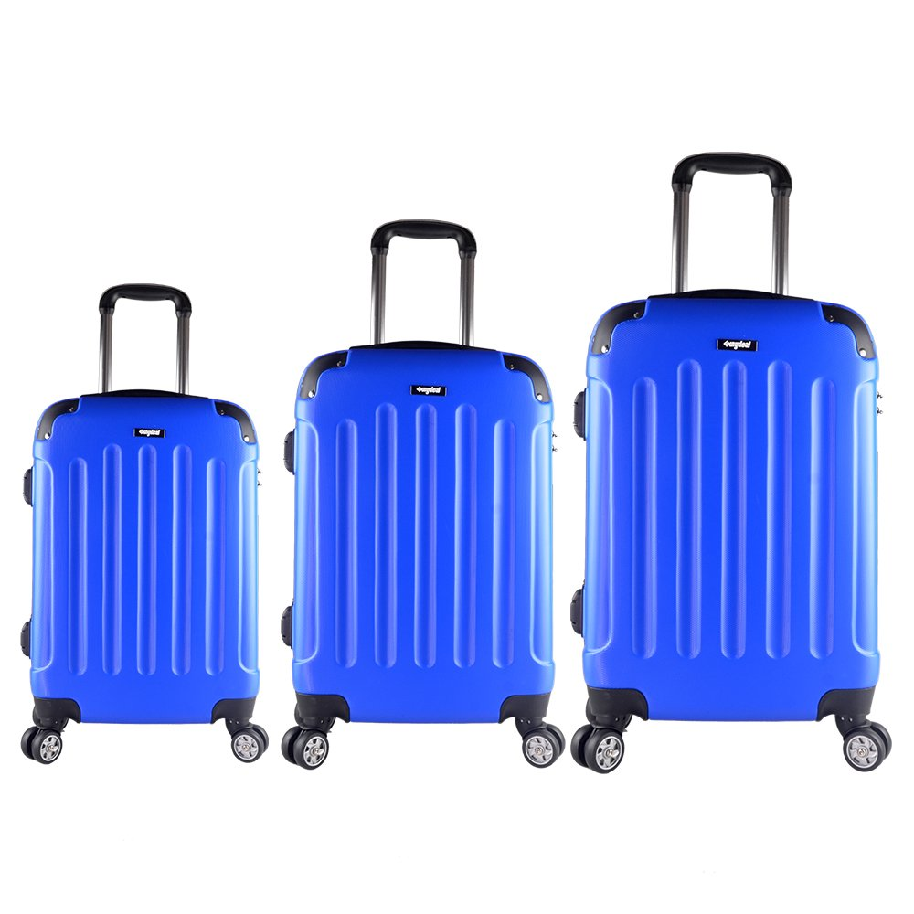 Sunydeal® di Set Valigie Trolley Bagaglio Rigida in ABS 4 Ruote ultra leggere 55cm/65cm/75cm NEW TSA per Famiglia Blu luggage