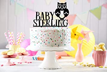 Amazon Com Personalized Baby Shower Cake Topper Welcome Baby Owl