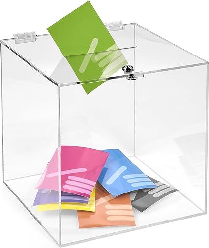 Kit Box Votaciones/300 x 300 x 300 mm con candado, cristal acrílico transparente/Dona Caja/ranura Caja/sorteo parte Caja/urna/acrílico/SE puede cerrar: Amazon.es: Oficina y papelería