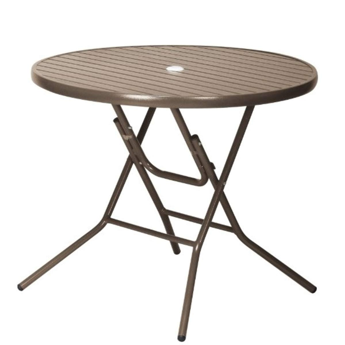 アルミ ガーデンテーブル 折りたたみ パラソル穴 店舗 オープンカフェ ブラウン B07GTM24RG ブラウン