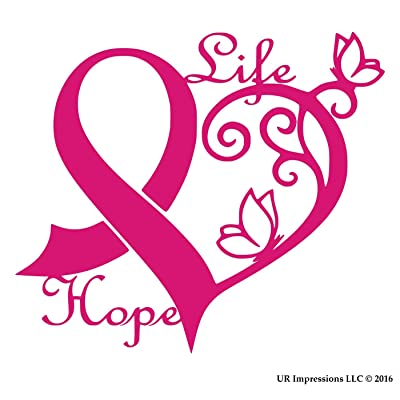 UR Impressions DPnk Cancer Awareness Ribbon Heart Butterfly Vine - Life Hope Decal Vinyl Sticker Graphics for Cars Trucks SUV Vans Walls Windows Laptop|Dark Pink|6.4 X 5.5 inch|URI442-DP: Automotive