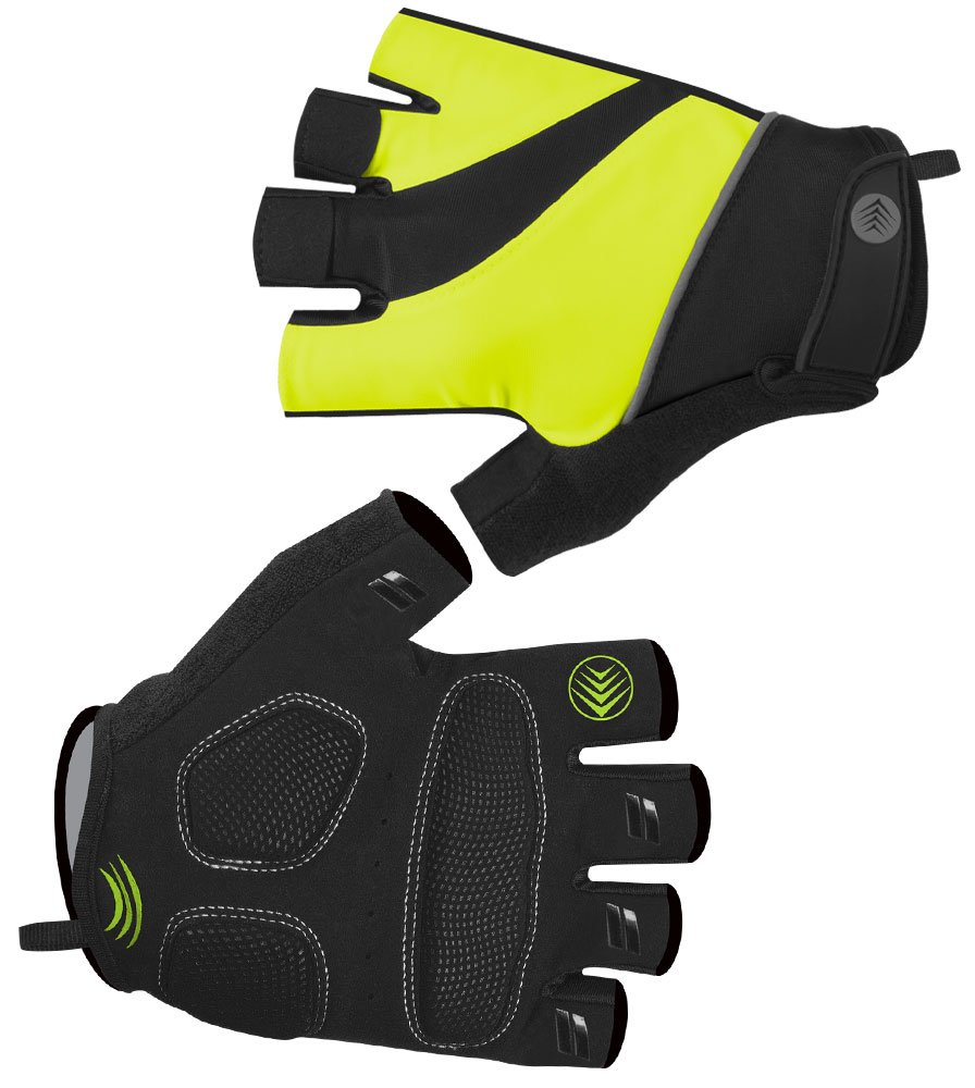 AERO|TECH|DESIGNS Tempo 2.0 サイクリンググローブ - ジェルパームパディング 指なし 反射性 取り外し簡単 洗濯可能 XXX-Large イエロー(Safety Yellow) B01N6UP54C
