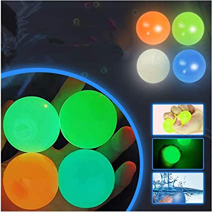 Squishy Glow Stress Relief Toys 4 Pcs Luminescent Stress Relief Balls Sticky Ball OCD Stick to The Wall and Slowly Fall Off Anxiety for Kids and Adults Tear-Resistant Fun Toy for ADHD