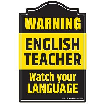Amazon.com: SignMission English Teacher Novelty Sign | Indoor ...